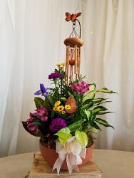Dish Garden with WIndchime from Weidig's Floral in Chardon, OH